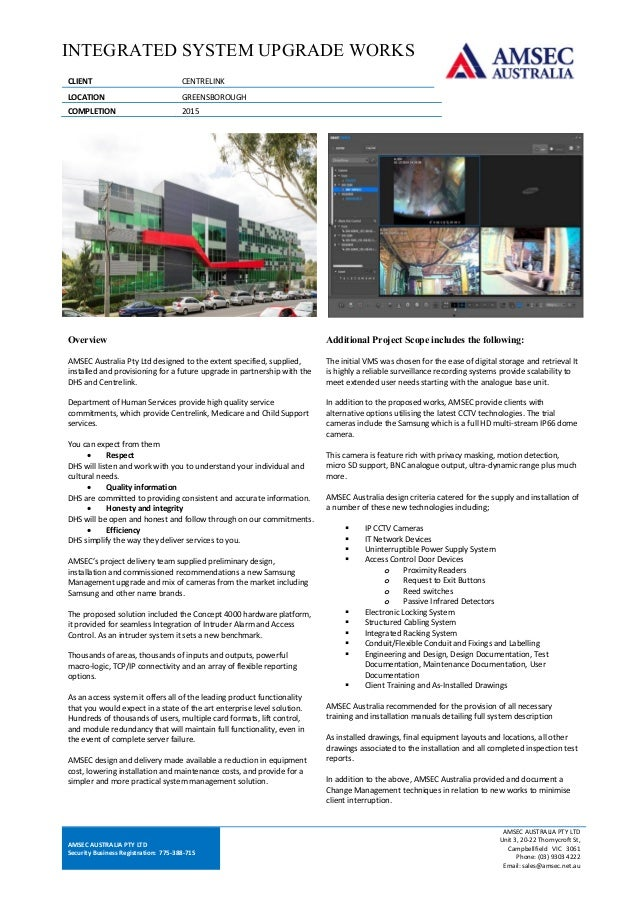 Amsec centrelink greensborough data sheet amsec australia pty ltd security business registration 77538871s amsec australia pty reheart Choice Image