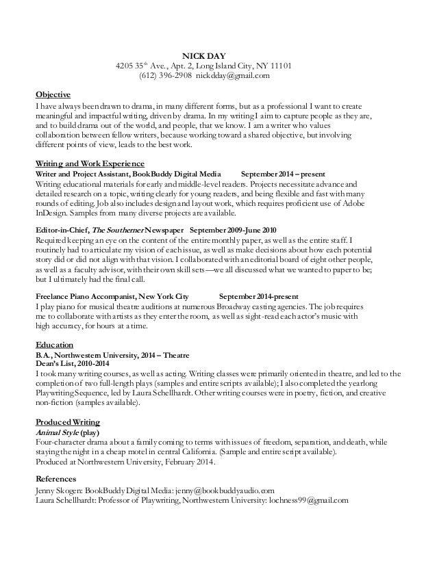 Nick Day Writing Resume
