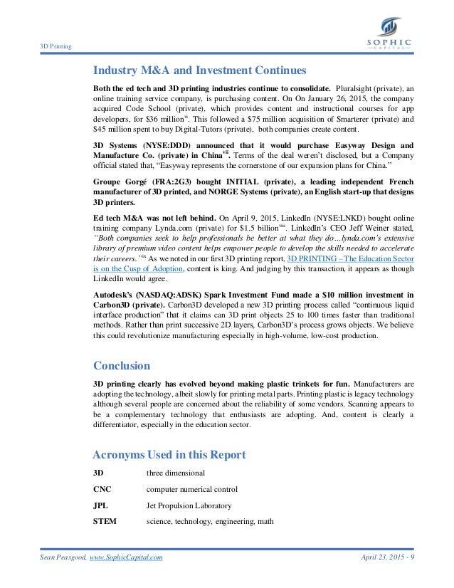Sophic Capital 3D Printing Report #2