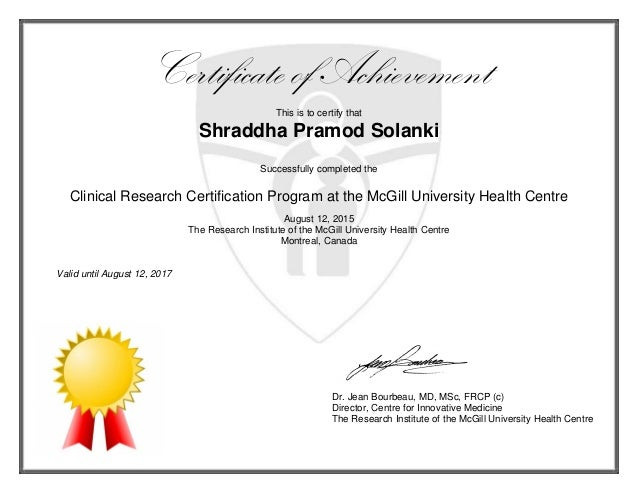 Certificate of MUHC Clinical Research Certification (2)