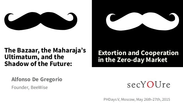 ... The Bazaar, the Maharaja's Ultimatum, and the Shadow of the Future: . Extortion and Cooperation in the Zero-day Market...