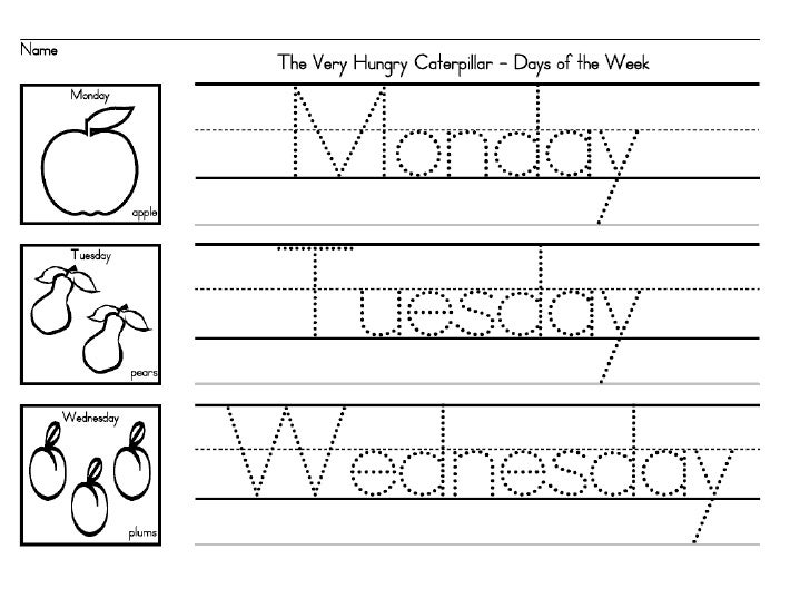 0 Days of the week The Very Hungry Caterpillar