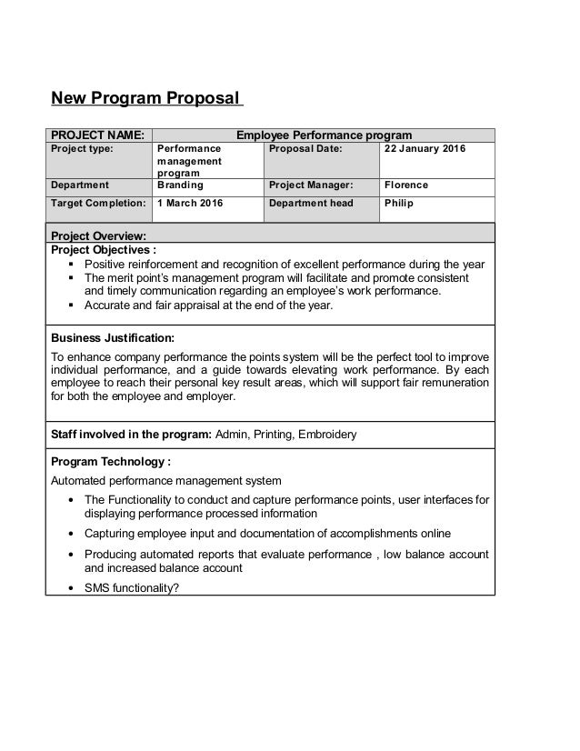performance program template