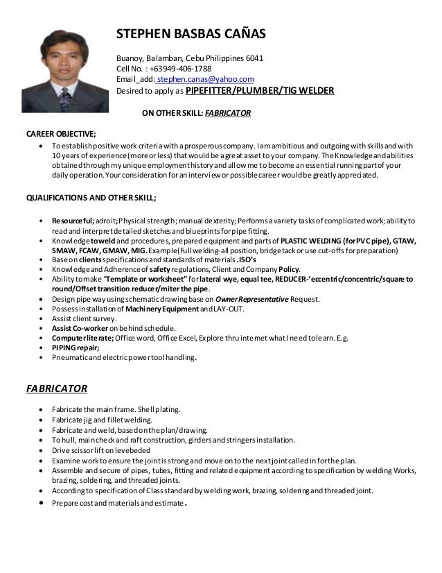 stephen canas CV-pipefitter_