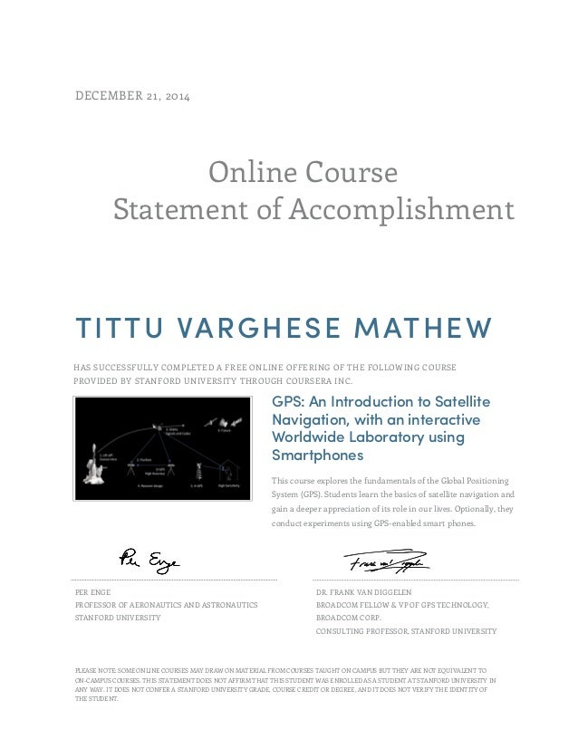 Gps Stanford Certificate