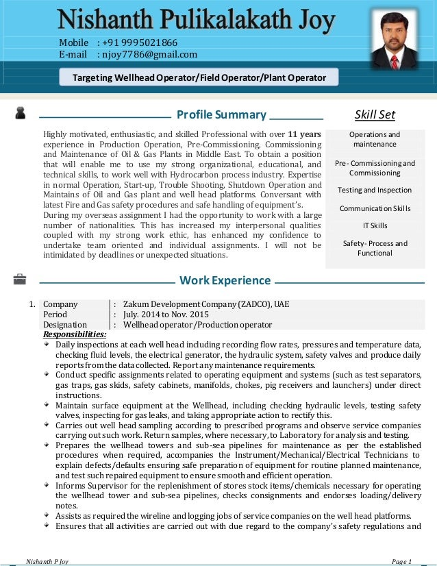 CV Oil And Gas Field Operator Nishanth P Joy