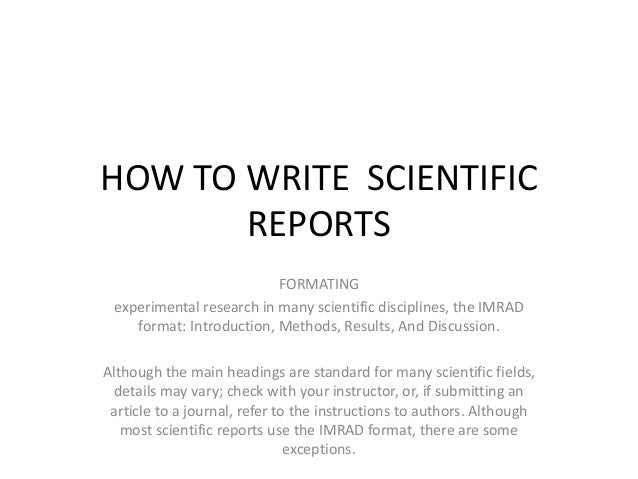 Scientific Report | How To Write Scientific Reports