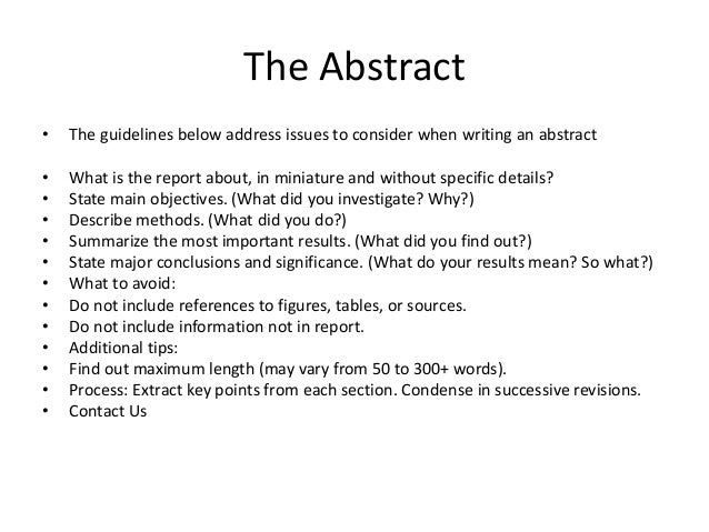 Writing an abstract for a lab report