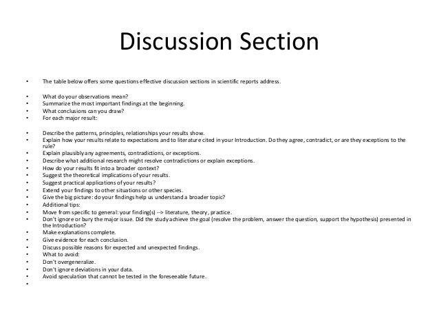 How To Write A Discussion In A Scientific Report