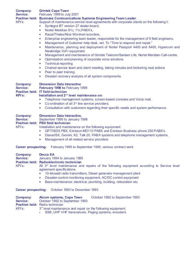 two way radio technician resume