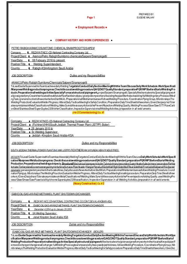 CV 1 MALAAY 1 – Structural Welder Job Description
