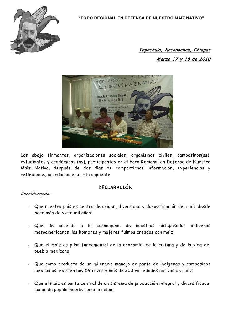 """""""FORO REGIONAL EN DEFENSA DE NUESTRO MAÍZ NATIVO""""                                                            Tapachula, Xo..."""