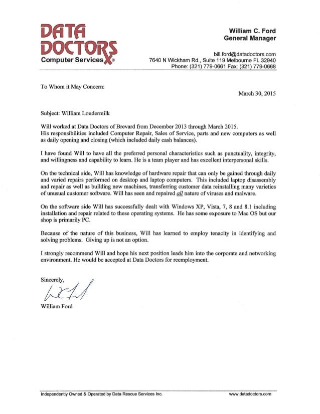 Data Doctors Recommendation Letter