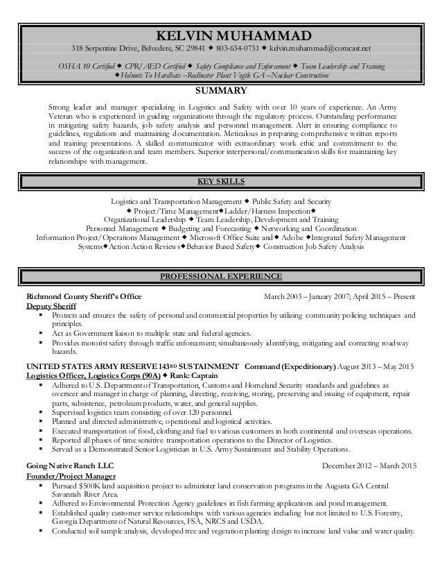 KELVIN MUHAMMAD 318 Serpentine Drive, Belvedere, SC 29841  803-634-0731  kelvin.muhammad@comcast.net OSHA 10 Certified ...