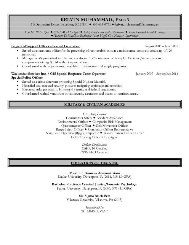 KELVIN MUHAMMAD, PAGE 3 318 Serpentine Drive, Belvedere, SC 29841  803-634-0731  kelvin.muhammad@comcast.net OSHA 10 Cer...