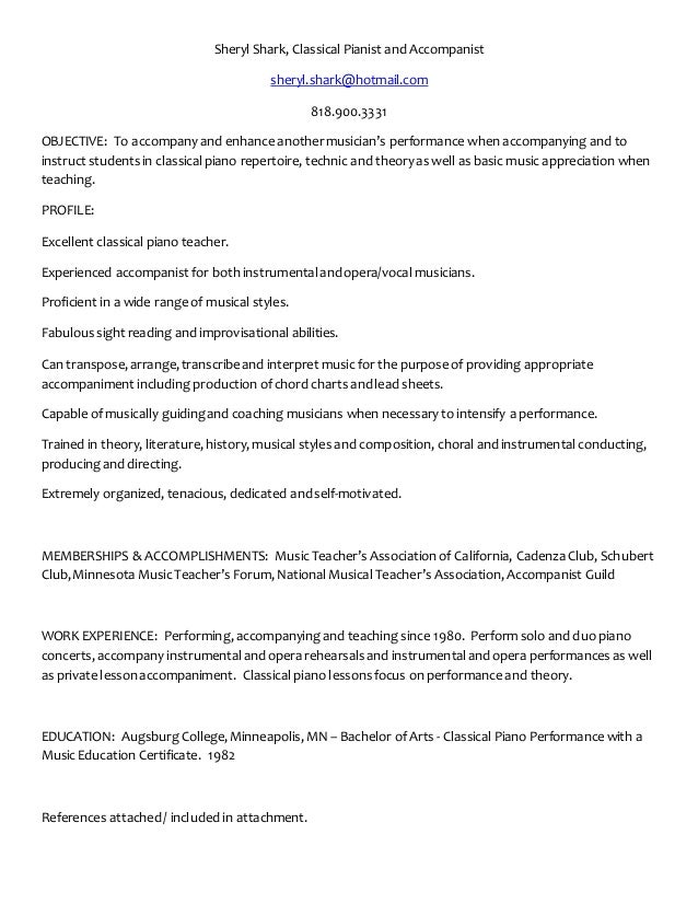 sheryl shark piano resume