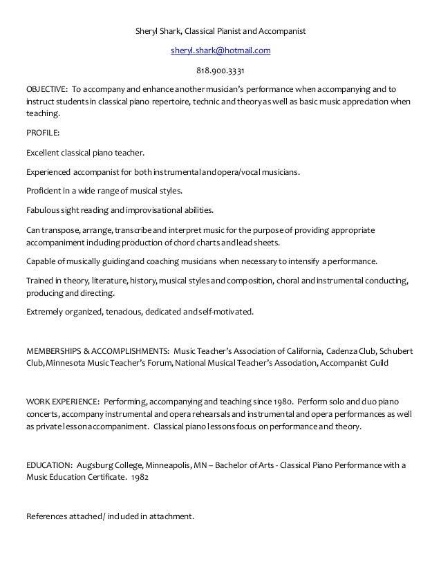 piano performance resume