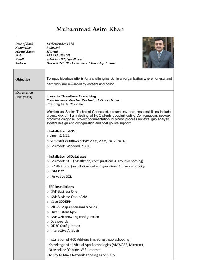 updated resume m asim khan 2017