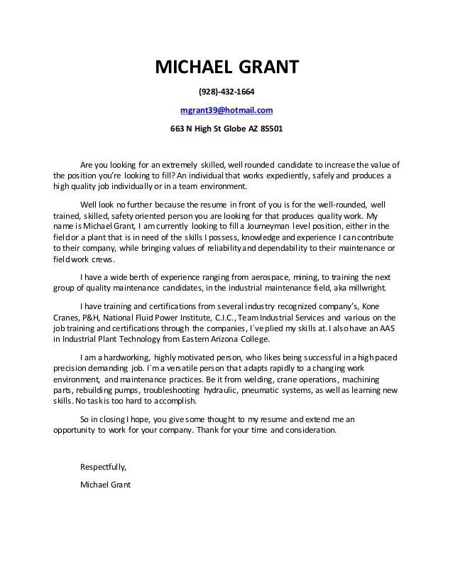 M Grant Cover Letter