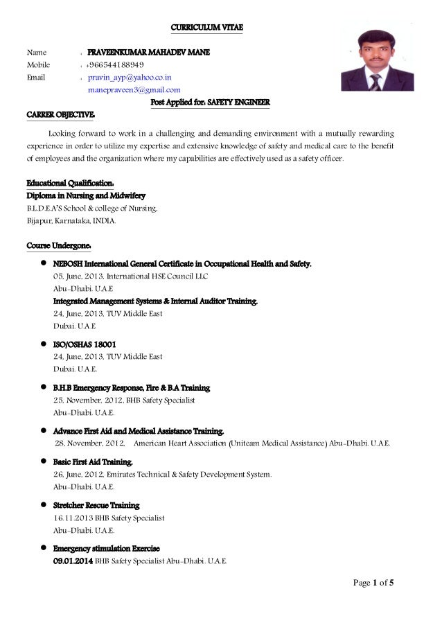 on safety officer resume sample doc