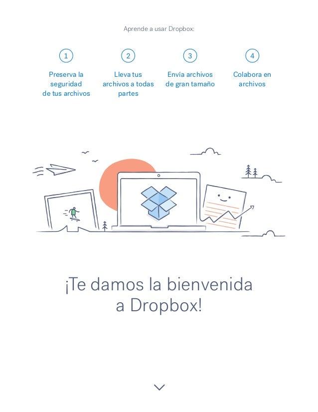 1 2 3 4 ¡Te damos la bienvenida a Dropbox! Preserva la seguridad de tus archivos Lleva tus archivos a todas partes Envía a...