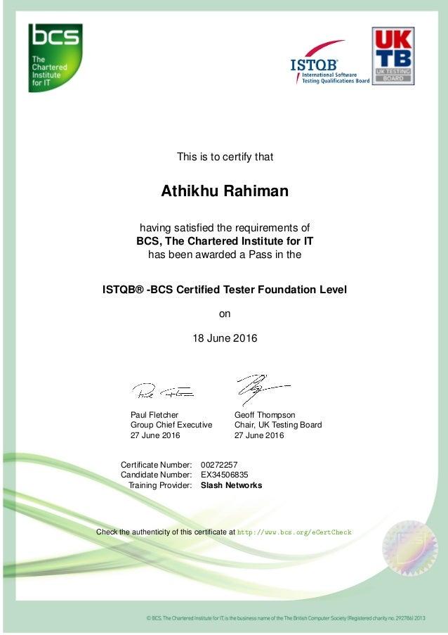 Iseb Istqb Ctfl Certificate