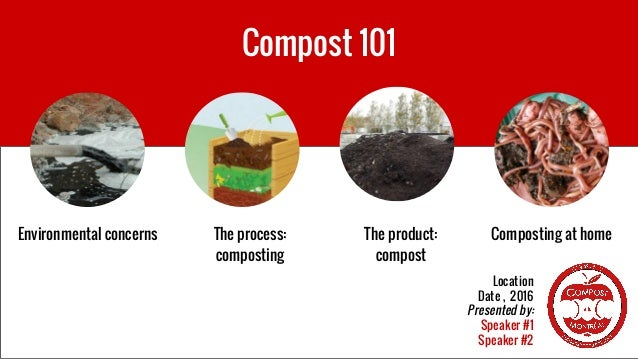 Compost 101 Location Date , 2016 Presented by: Speaker #1 Speaker #2 Environmental concerns The process: composting The pr...