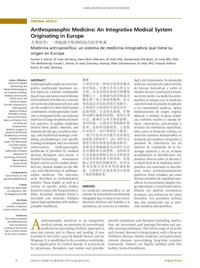Anthroposophic Medicine 2013. An Integrative Medical System Originati…