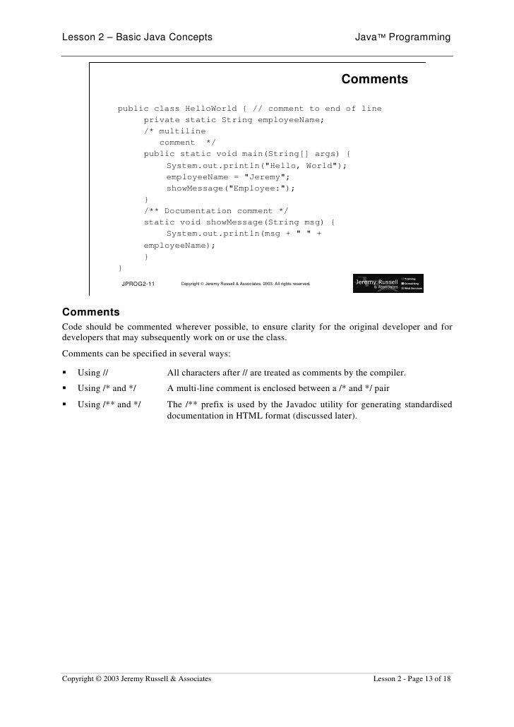 Lesson 2 – Basic Java Concepts                                                                            Java™ Programmin...