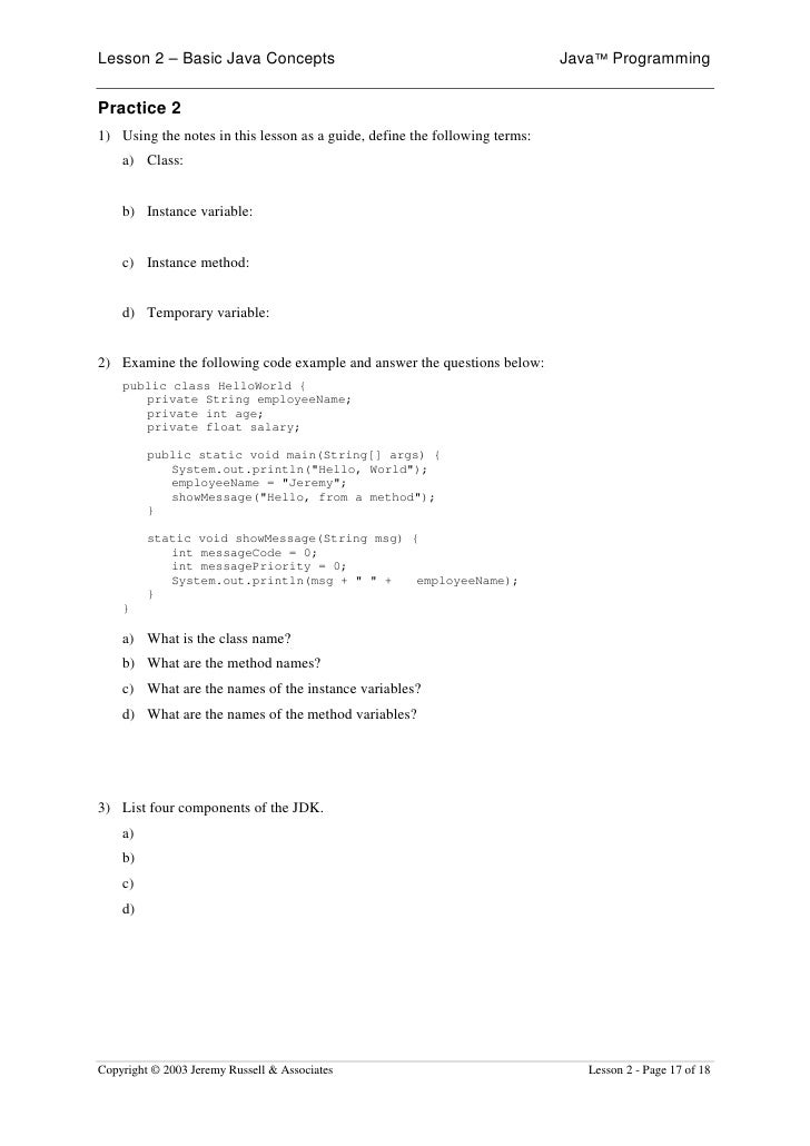 Lesson 2 – Basic Java Concepts                                              Java™ Programming   Practice 2 1) Using the no...