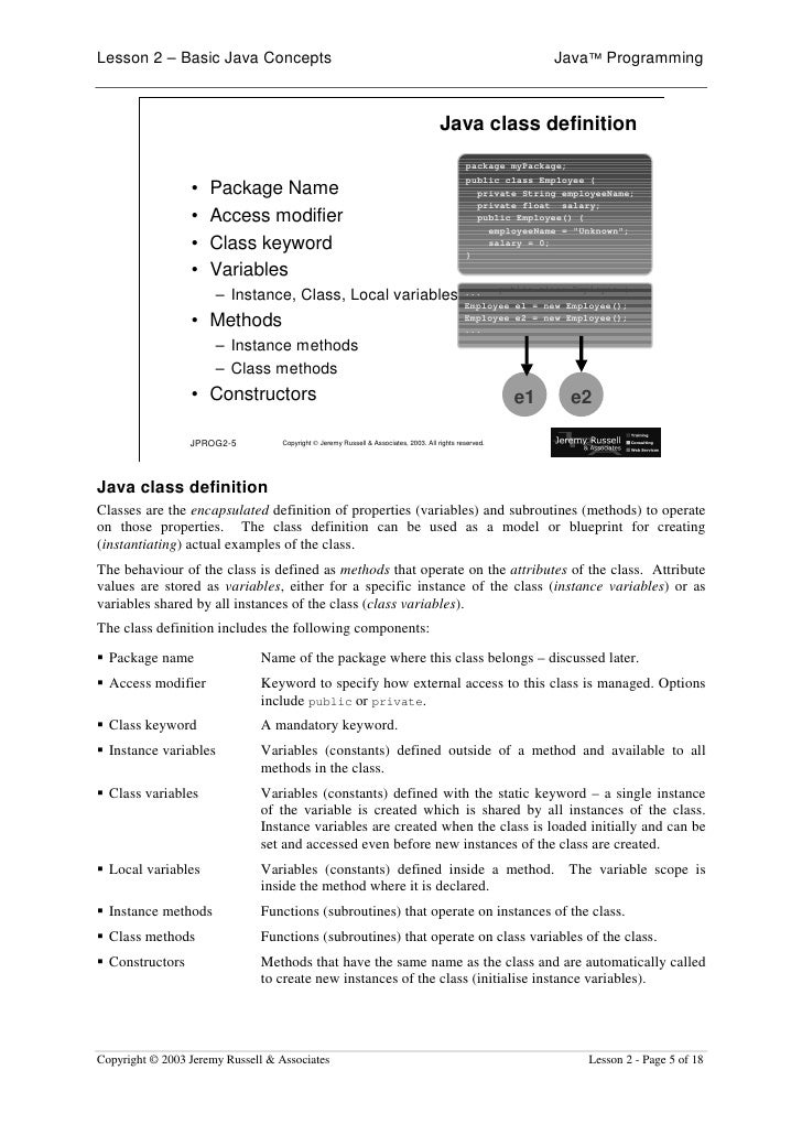 Lesson 2 – Basic Java Concepts                                                                                Java™ Progra...