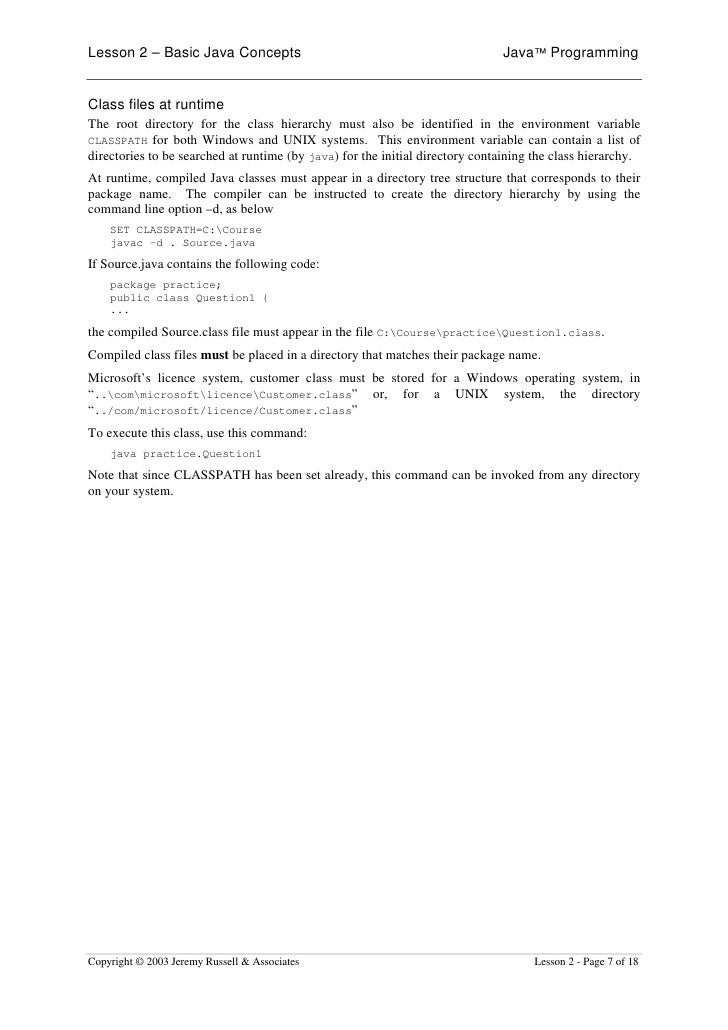 Lesson 2 – Basic Java Concepts                                                Java™ Programming   Class files at runtime T...
