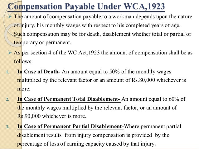 workmens compensation act 1923 The workmen's compensation act, 1923 act no 8 of 1923 1 [5th march, 1923] an act to provide for the payment by certain classes of employers to.