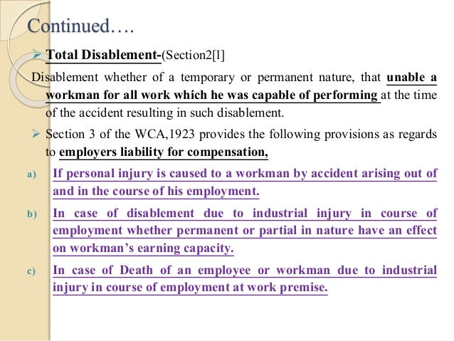workmens compensation act Workers' compensation act january 1, 2005 version this page takes you to connecticut's 136 workers' compensation statutes, known collectively as the workers' compensation act, or chapter 568.