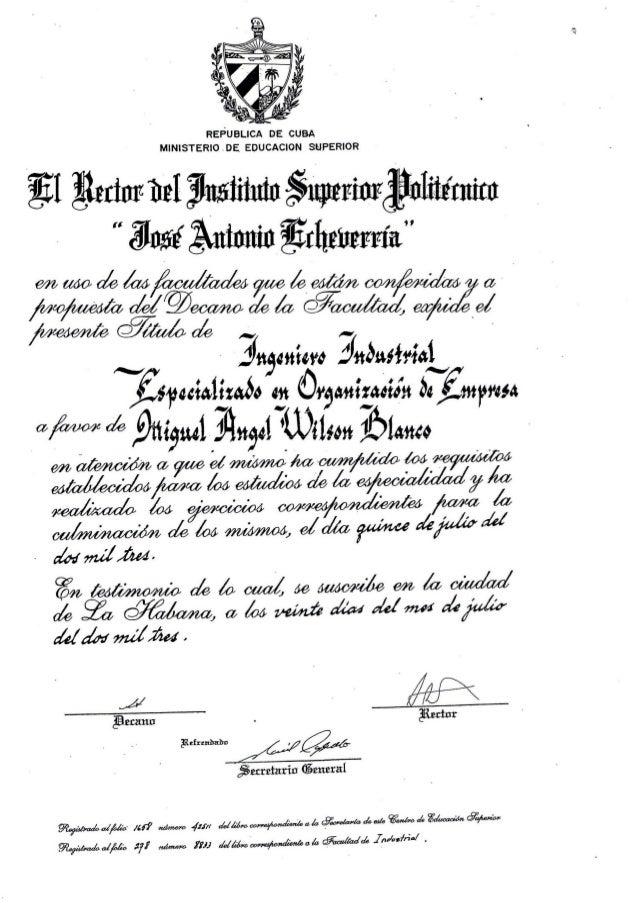 Title Certificate In Italy As Industrial Engineer