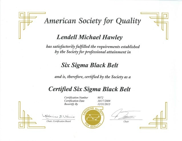 ASQ - Certified Six Sigma Black Belt