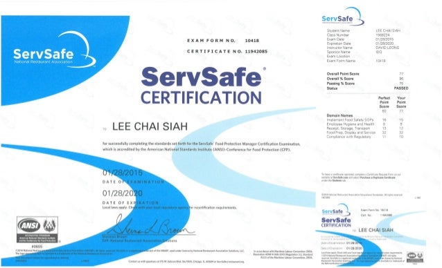 Servsafe Food Protection Manager Certificate