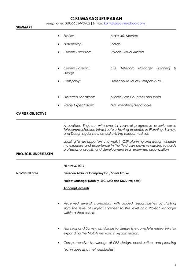 Cv For Osp Planning Design Kumaran