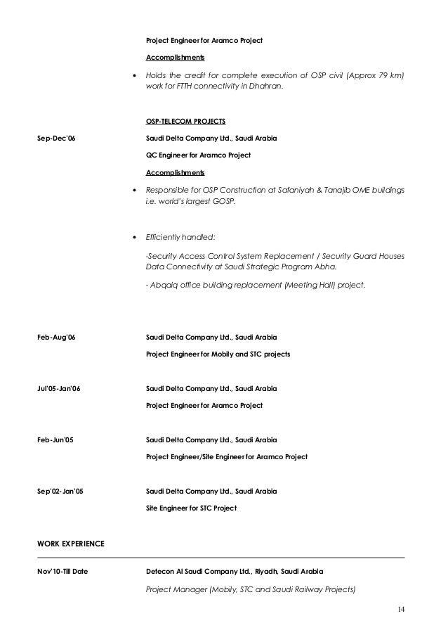 saudi arabia 13 14 project engineer - Osp Design Engineer Sample Resume