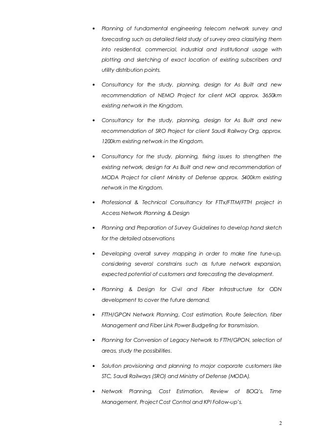 comprehensive knowledge of osp design construction and planning techniques and methodologies 1 2 - Osp Design Engineer Sample Resume