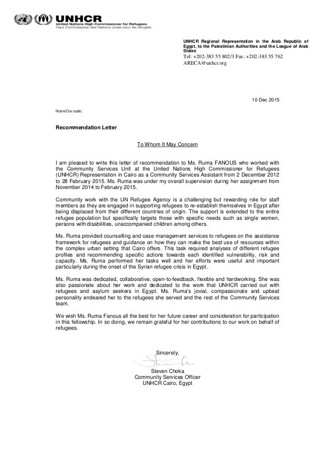 recomendation letter from unhcr