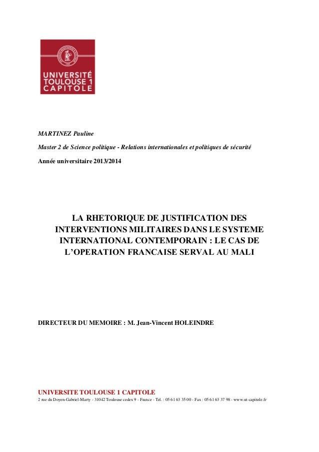 MARTINEZ Pauline Master 2 de Science politique - Relations internationales et politiques de sécurité Année universitaire 2...