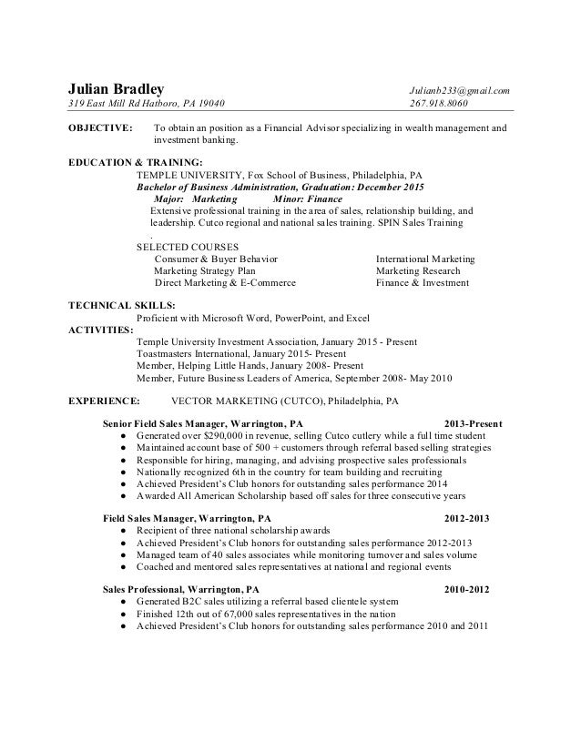 Julian Bradley Financial Advisor Resume. Julian Bradley  Julianb233@gmail.com 319 East Mill Rd Hatboro, PA 19040 267.918 In Resume For Financial Advisor