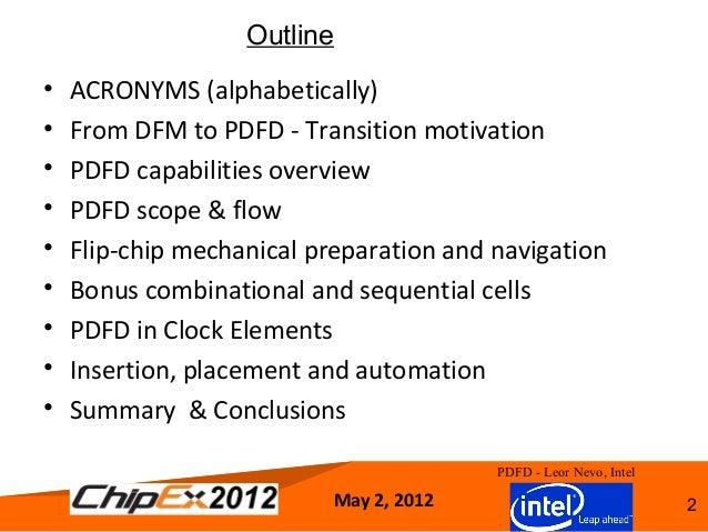 The 2012 transition from DFM to PDFD ChipEx2012LeorNevoRev 08new Slide 2