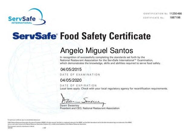 ServSafe Food Safety Certificate - Angelo Miguel Santos