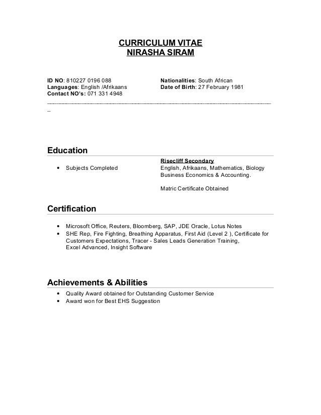 curriculum vitae nirasha siram id no 810227 0196 088 nationalities south african languages