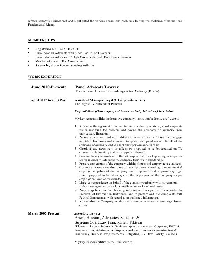 This Resume Is For Those Lawyers Who Desire To Have The ...