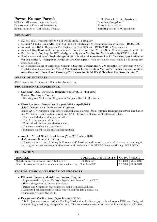resume vlsi design engineer professional mygpsdesk