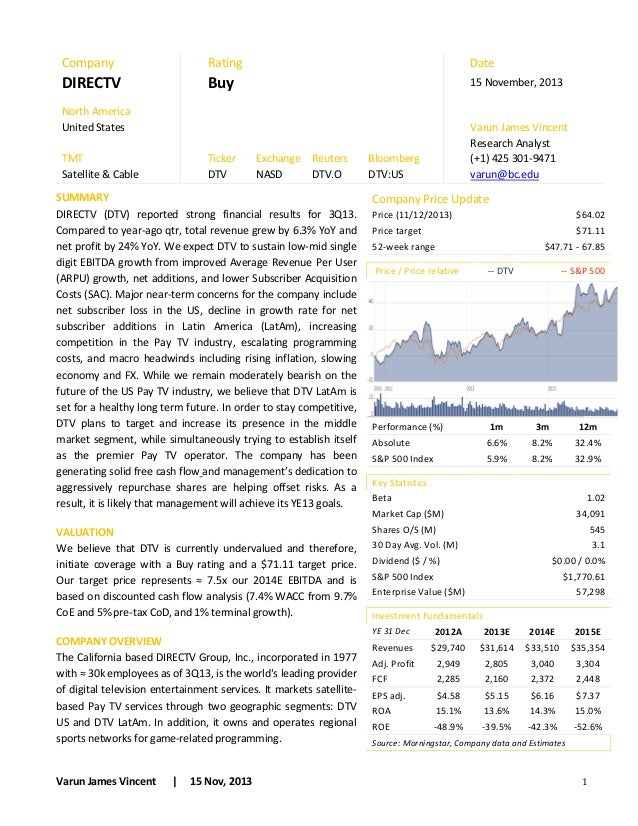 Buy side research report sample
