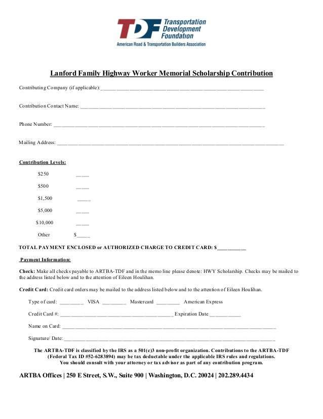 Lanford Family Highway Worker Memorial Scholarship Contribution Contributing Company (if applicable):_____________________...